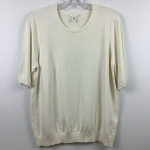 H&M Short Sleeve Knit Sweater Top in Ivory